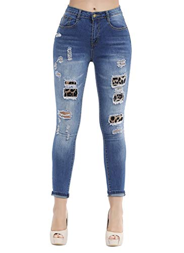 - Women's Casual Ripped Holes Skinny Jeans Jeggings Straight Fit Denim Pants (US 12, Blue 61)
