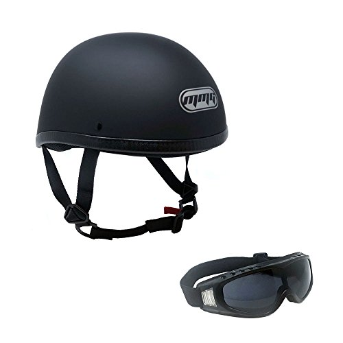 Motorcycle Contoured Half Helmet Cruiser DOT Street Legal - MEDIUM - Flat Matte Black with complimentary Smoked Goggles 885