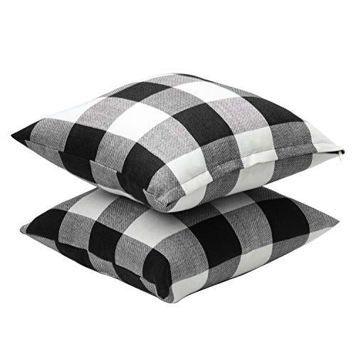 Aneco 4 Pack 18 � 18 Inch Pillow Cover Buffalo Plaid Black White Check Plaid Car