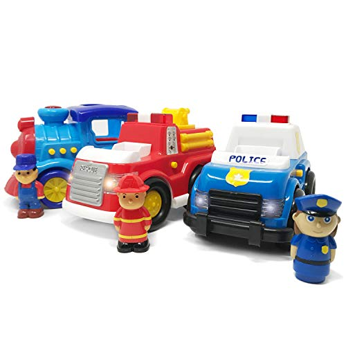 Boley 3 Pack Emergency City Cars and Train Set - Educational Light and Sound Toy Vehicle Playset - Includes Fire Truck, Train and Police Interceptor Toys for Toddlers, Kids, Boys, and Girls!