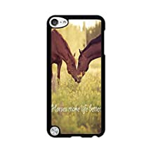 DDOLAA For Apple iPod Touch 6 Case.iPod Touch 5 Hard Case Horse [Shock Absorption Protection] Black PC Hard Case For iPod iTouch 5Th/6Th Cover Case