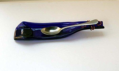 Glass Spoon Rest Flattened Recycled Bottle Large Blue Wine (Wine Bottle Spoon Rest)
