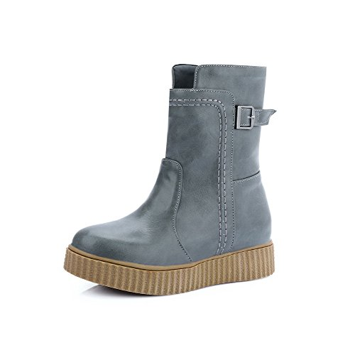 AgooLar Women's Low-Top Solid Pull-On Round Closed Toe Low-Heels Boots Gray JRT7eE