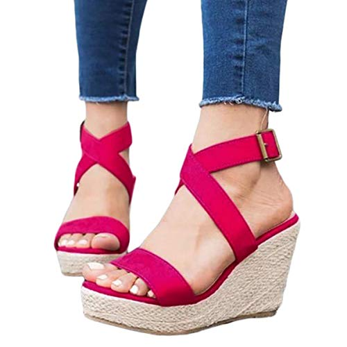 (Womens Wedge Platform Espadrille Strappy Sandals Cross Ankle Strap Slingback Open Toe High Heel Summer Sandals Rose Red)