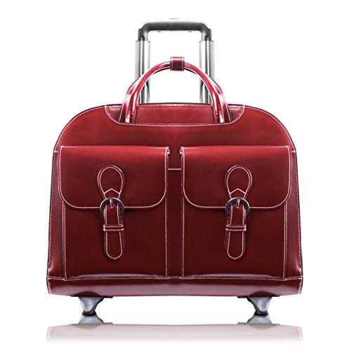 Red Wheeled Computer Cases - McKlein, L Series, Davis, Top Grain