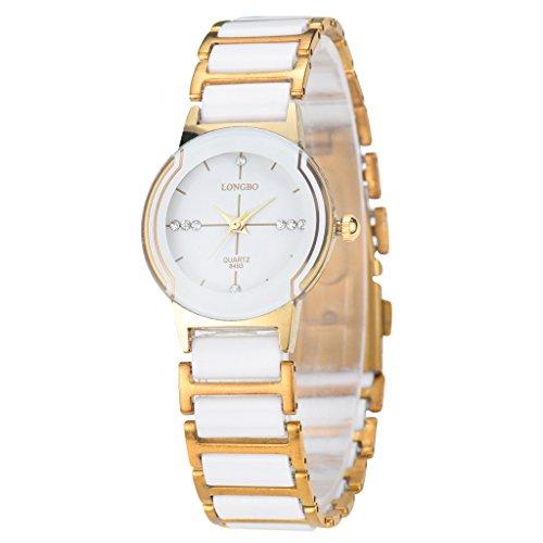 LONGBO Luxury Women Unisex Gold White Ceramic Bracelet Watches Casual Couple Dress Watch Crystal Rinestone Waterproof Business Wristwatch For Ladies