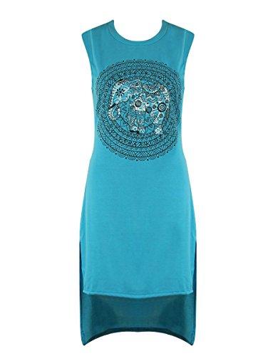 (Verochic Women's Vintage Elephant Print High Low Dip Hem Slit T-Shirt Tank Dress (Green, Medium))