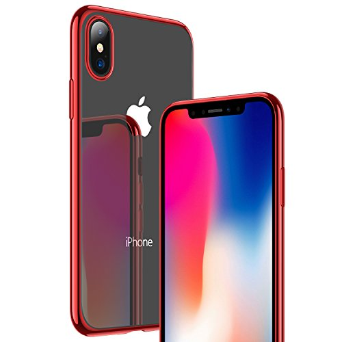 iPhone X Case, RANVOO [Ultra Thin] Clear Case Slim Fit Soft TPU Cover [Premium Gel] Flexible Bumper [Supports Wireless Charging] for iPhone X/10-Red
