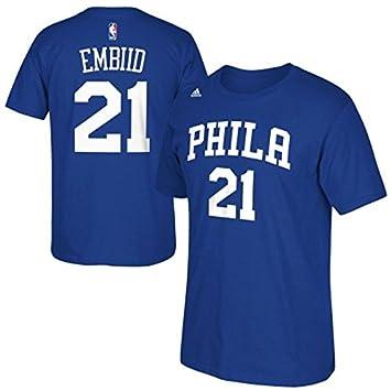 Joel Embiid Philadelphia 76ers NBA Adidas Men Blue Official Player Name &  Number Jersey T-