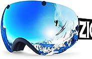 ZIONOR Ski Goggles Men Women Over Glasses Anti-Fog Anti Scratch Premium Snowmobile Snowboard Goggles with Sphe