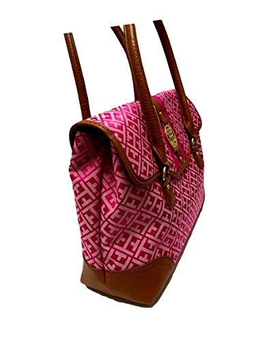 Tommy HIlfiger Flap Satchel PInk Logo Handbag Purse
