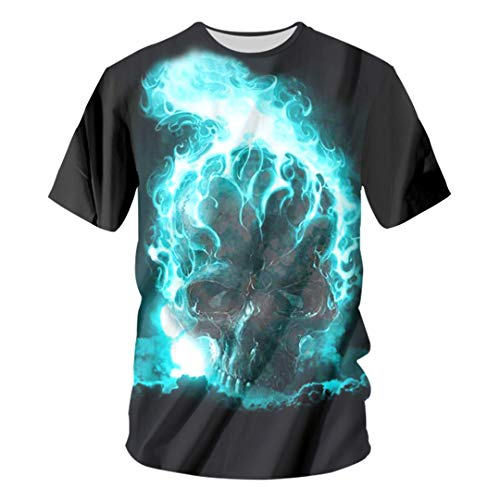 Men 3D Print Blue Flame Skull Header T Shirts Funny Cool Clothing Hip Hop Tops Tees Casual Streetwear Harajuku Flame Skull Header XL