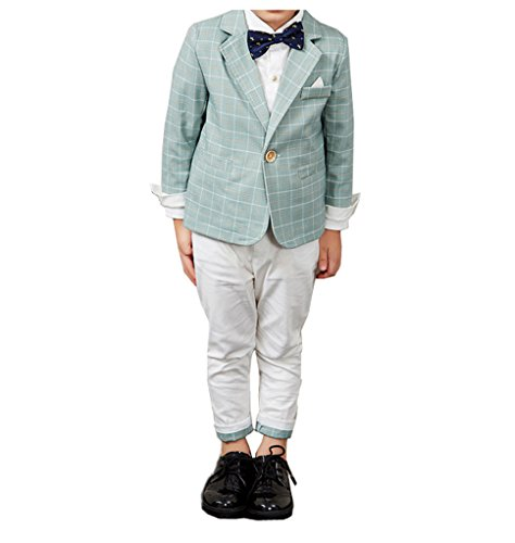YUFAN Boys Spring Summer Casual Suit Set Green/Navy Plaid Jacket and Pants 2 Pcs (6, Green) by YUFAN