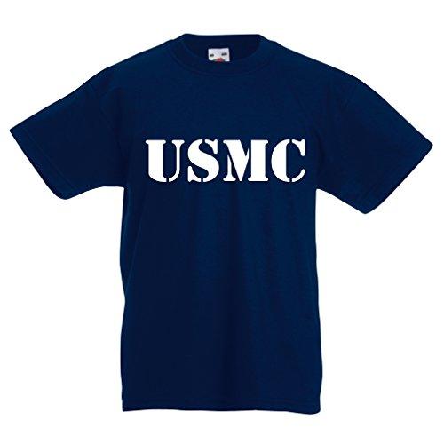 Kids Boys/Girls T-Shirt USMC Emblem, Marine Corps, Marines Logo, US Navy Armed Forces (5-6 Years Dark Blue White) by lepni.me