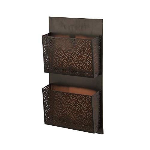 25 Inches Wall Mail Organizer 2 Pockets Wall Letter Holder Wall Mount Entryway Bills Papers Documents File Storage Shelf for Home Office Hanging Organizer Basket Traditional Style, Iron, Brown Black