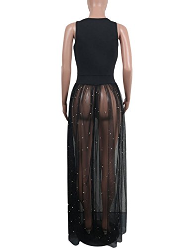 Tank Women's Sleeveless Long Perl Akmipoem Black See Sheer Beading Swing Dress Dresses Maxi Through Mesh d7SnCnqp