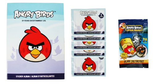 Angry Birds Dog Tags - Rovio Entertainment Angry Birds 1 Sticker, 1 Dog Tag Fun Pack and 5 Pack of Stickers