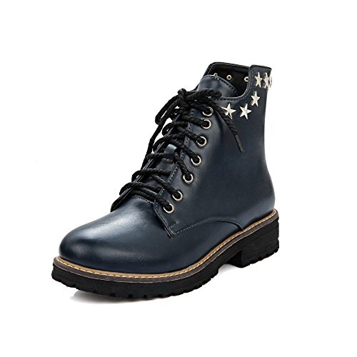 Allhqfashion Women's Lace-up Round Closed Toe Low-Heels PU Low-top Boots Blue LE5fez