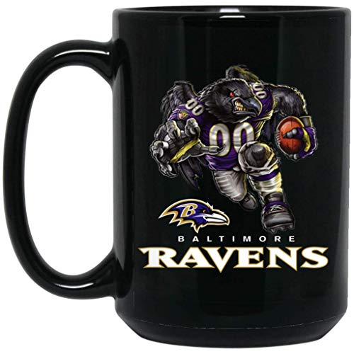 (Baltimore Ravens Coffee Mug Raven Player Mascot Mug 15 oz Black Ceramic Coffee Cup Great for Tea and Hot Chocolate NFL AFC Football Perfect Gift for any Ravens Fan)