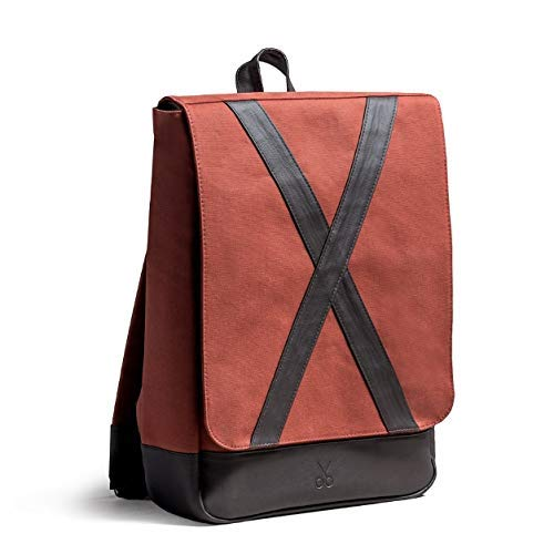 Canvas PU Leather Handmade Backpack Casual Daypack Unisex School Bag by LeatherWorksAtelier