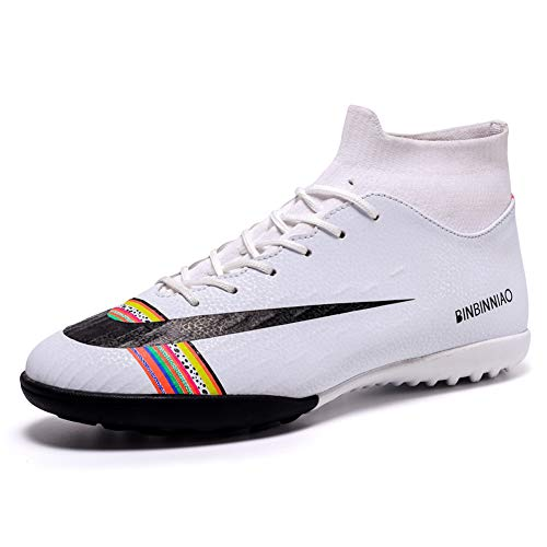 CR Soccer Shoes for Big Boy - Messi Turf Indoor Youth Football Shoes - High Top Ankle Boots Colorful Ribbon for Women - Outdoor Training TF/AG Men Size (US/6=EUR/39, White)