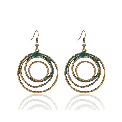 Unique Bronze Circle Ring Multi Twin Pendant Earrings Women Retr Big Round Party Jewelry Gift