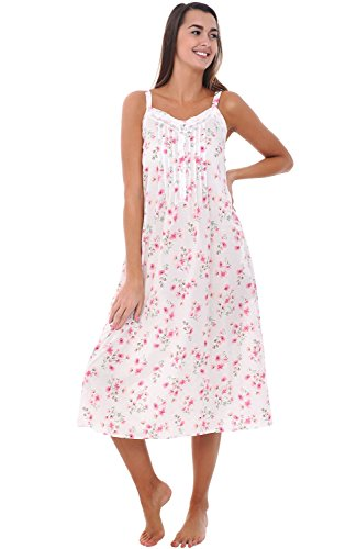 Alexander Del Rossa Womens 100% Cotton Lawn Nightgown, Long Tank Top Chemise, Small Pink Flowers on Cream (A0582L03SM) (Tank Chemise)
