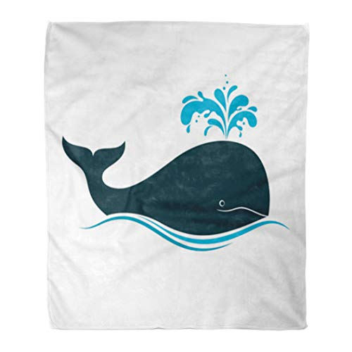 hrow Blanket 50 x 60 Inches Blue Spout Whale with Water Fountain Blow Blowhole Splash Spray Wave Save Flat Cartoon Warm Flannel Soft Blanket for Couch Sofa Bed ()