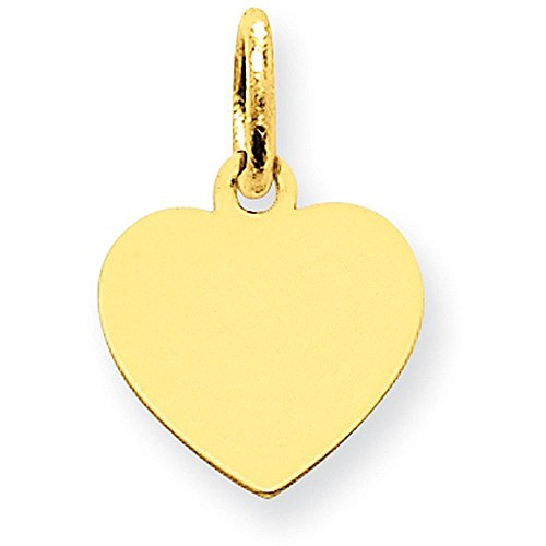14K Yellow Gold Plain .011 Gauge Engravable Heart Disc Charm - (0.63 in x 0.39 in)