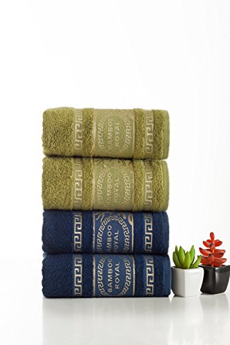 Harmony of Contrasts Luxury Bamboo Hand Towels || Set of 4 || Anti-Bacterial || Ultra Soft & Fluffy || Super Absorbent || Satisfaction & || IXIRHOME