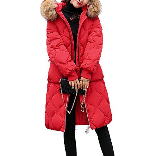 en Taille Manteau de Coton Duvet Grande Capuche Doudoune Longue Chaud Femme HANMAX Coton Fourrure avec Rouge Hiver de wPaqdnA