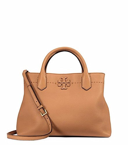 Tory Burch McGraw Center Zip Leather Shoulder Tote Bag - Brown Tory Bag Burch