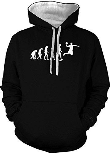 The Evolution Of Basketball Men's 2 Tone Hoodie Sweatshirt (Small, Black/White String)