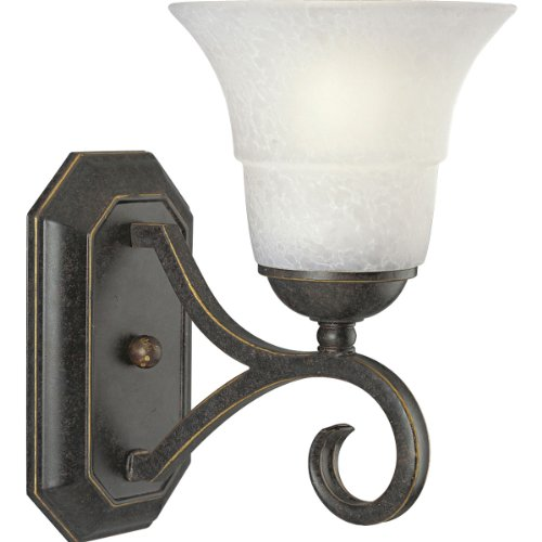 (Progress Lighting P2918-84 1-Light Wall Bracket with Etched Watermark Glass, Espresso)