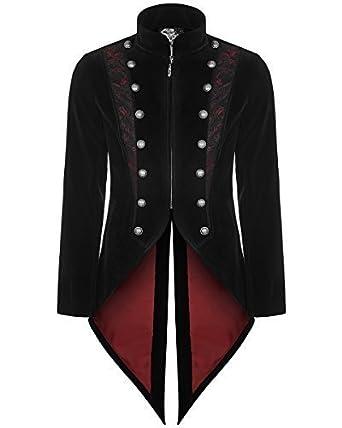 12d57d766543 Punk Rave mens-gotik Frack Jacke schwarz Samt Steampunk Vampir  Schwalbenschwanz  Amazon.de  Bekleidung