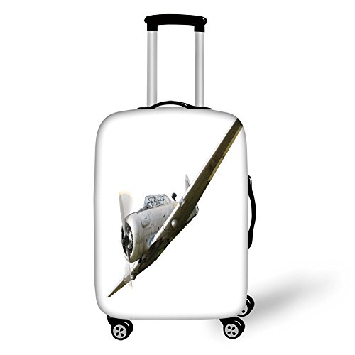 Travel Luggage Cover Suitcase Protector,Vintage Airplane Decor,Historical Old War Aircraft Flying Fighter Weapon Propeller Wing Decorative,Grey White,for Travel -