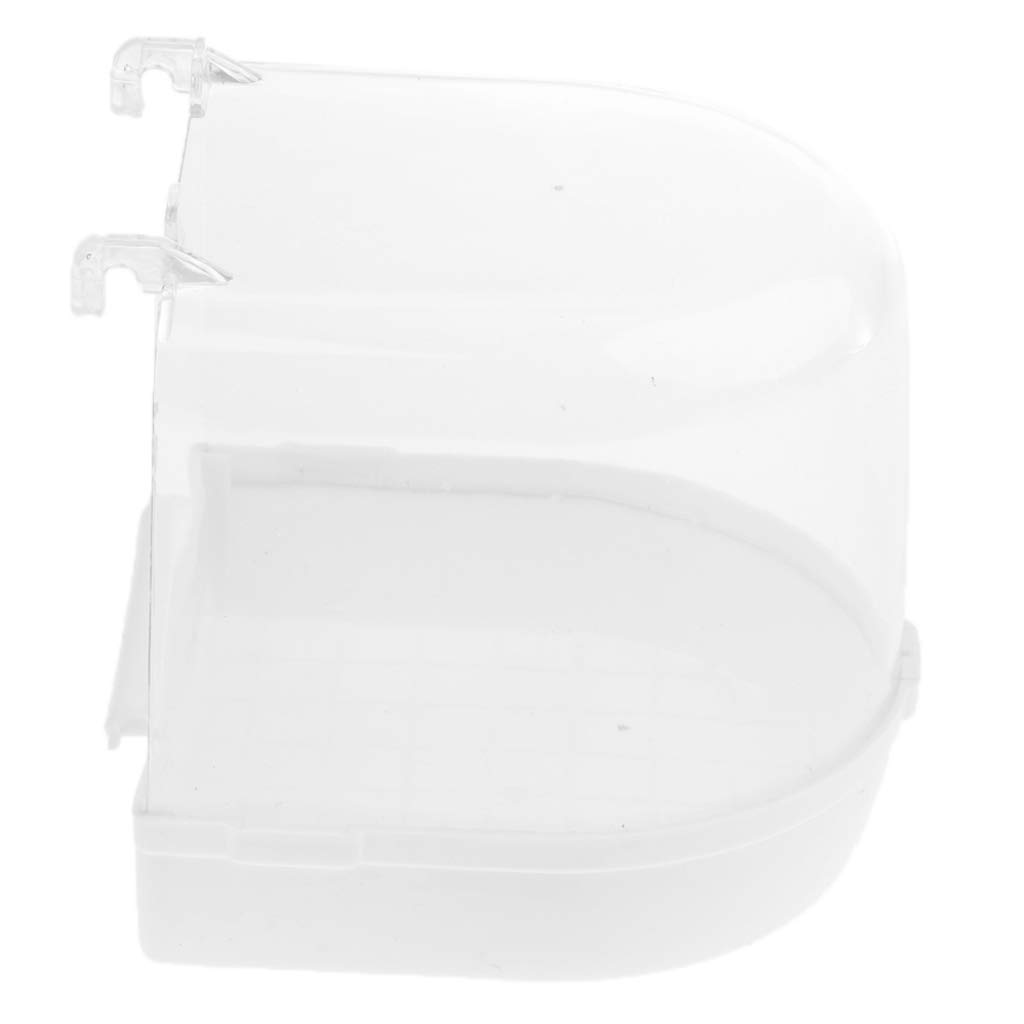 B Blesiya Bird Bath for Caged Birds Bird Cockatiel Bath Clean Box Toy Plastic Green/White 13 x 13 x 13 cm - White