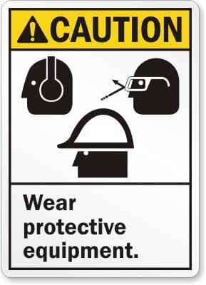 "SmartSign Aluminum Sign, Legend ""Caution: Wear Protective Equipment "", 14"" high x 10"" wide, Black/Yellow on White"