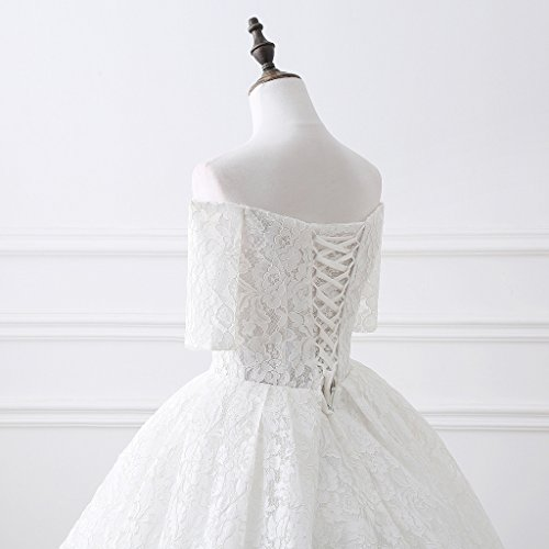 BessWedding Women's White Wedding Long Dresses Brides for Evening Sweetheart Lace vZZqdwx