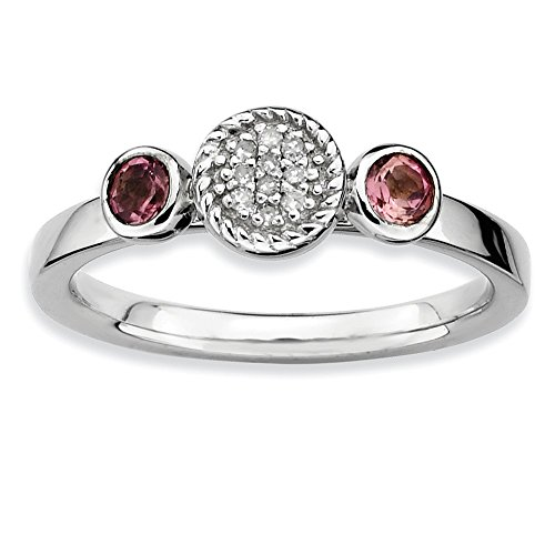 0.28ct 925 Sterling Silver Rhodium Plated Stackable Db Rd. Pink Tourmaline & Diamond Ring ()