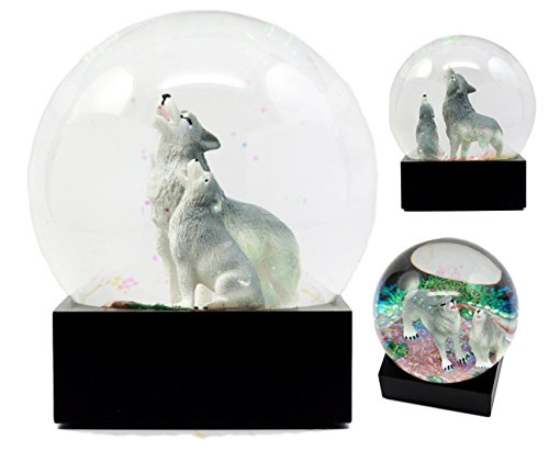 "Atlantic Collectibles Howling Wolf Water Globe Alpha Wolf & Cub Family Collectible Figurine 4.5""Tall"