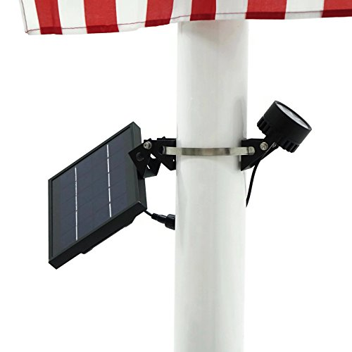 Mini 120X Solar Powered Flag Pole Light (Warm White LED), Black Finish, Adjustable Metal Strap, 4-Way Solar Panel Rotation for Optimum Sunlight Exposure (Best Solar Flagpole Light)