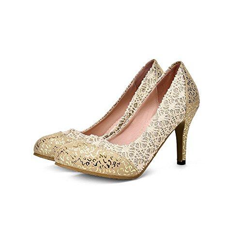 VogueZone009 Damen PU Leder Ziehen auf Rund Zehe Hoher Absatz Gemischte Farbe Pumps Schuhe Golden