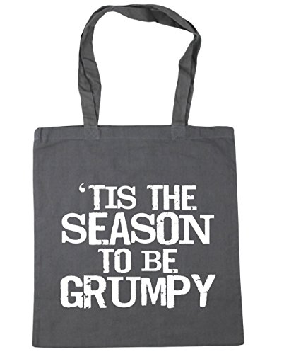 HippoWarehouse tis The Season to be grumpy Tote Compras Bolsa de playa 42 cm x38 cm, 10 litros gris grafito