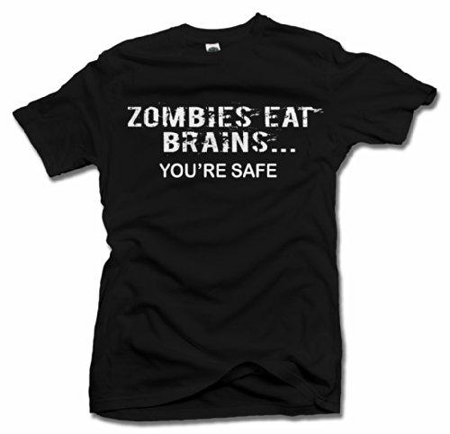ZOMBIES EAT BRAINS. YOU'RE SAFE. FUNNY ZOMBIE T-SHIRT 5X Black Men's Tee (6.1oz) (Brain Dead T-shirt)