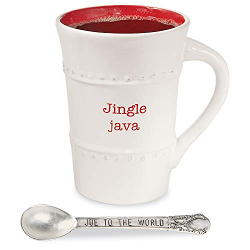 Mud Pie 43500001J Farmhouse Inspired Holiday Christmas Spoon-Jingle Java Coffee Mug Set, 12 ounce, white ()
