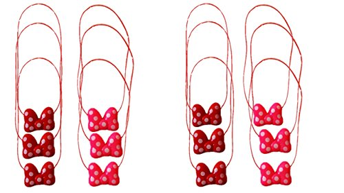 Best 12 Piece Blinking, Flashing, Light up Glow in the Dark Bow Princess Necklace in (Red and Pink) Party Favors for Ages 3 and (Cheap Minnie Mouse Ears)