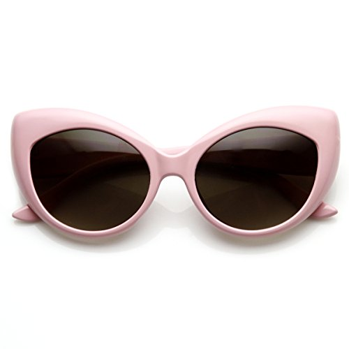 zeroUV - Oversized Vintage Inspired Super & Bold Retro Designer Cat Eye Sunglasses (Light - Light Sunglasses Pink