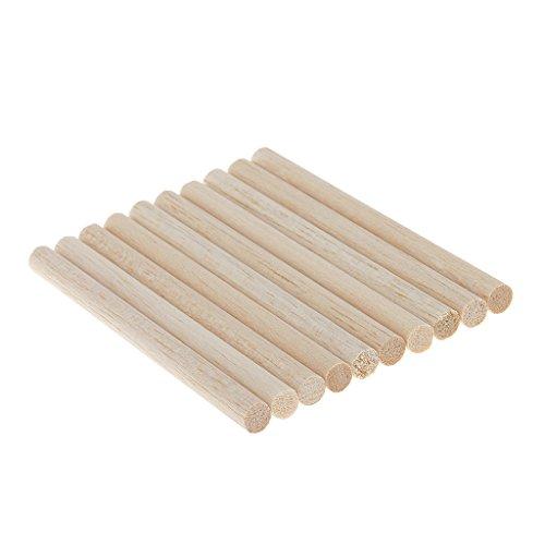 Jili Online 10pcs Natural Round Unfinished Wooden Sticks Dowels Rods For DIY Woodcrafts Modelling - 110mm - Natural Woodcraft Sticks