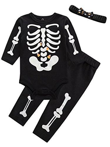 Baby Holloween Costumes (Luminous Skeleton Ghost Holloween Costumes Party Romper Jumpsuit and Pants Outfit Set with Headband for Newborn Baby Girl Black Label 9M = 0-6 Months)